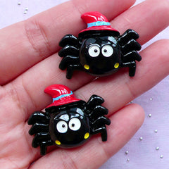 Spider with Witch Hat Cabochons | Creepy Cute Decoden | Kawaii Halloween Decoration (2 pcs / 30mm x 24mm)