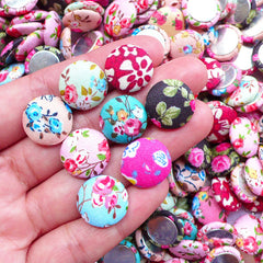 15mm Round Fabric Button Cabochon in Floral Pattern | Scrapbooking Supplies | Embellishment Pieces (10pcs / Assorted Mix / Flat Back)