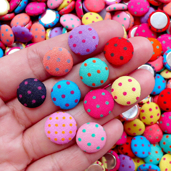 12mm Round Fabric Button Cabochon in Polka Dot Pattern | Embellishment Supplies & Earrings Making (10pcs / Assortment / Flat Back)