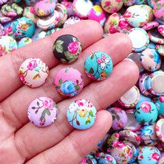 13mm Round Fabric Button Cabochon in Flower Pattern | Button Decoration Crafts | Card Making Supplies (10pcs / Assorted Color / Flat Back)