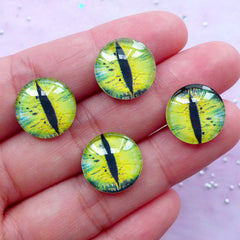 Snake Eye Picture Dome Cabochon | Dragon Eye Photo Cabochon | Round Reptile Eye Image Cabochon (4pcs / 14mm / Flat Back)
