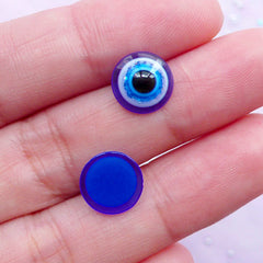 Evil Eye Cabochons | Round Stink Eye Cabochon | Religion Protection Good Luck Turkish Jewelry Findings (15pcs / 10mm / Flat Back)
