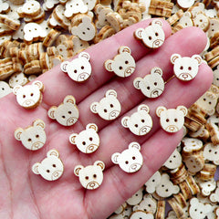 Small Bear Wooden Buttons with 2 Holes | Animal Embellishments | Sewing & Scrapbooking Supplies (15pcs / 12mm x 11mm)