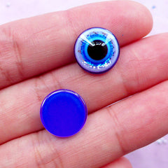 Stink Eye Cabochons | Round Evil Eye Cabochon | Good Luck Protection Symbol | Turkish Religion Jewellery Findings (10pcs / 12mm / Flat Back)