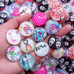 25mm Dome Cabochons with Picture | Round Photo Cabochon | Cabochon with Printed Image (5pcs by Random / Flat Back)
