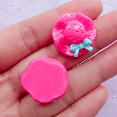 Decoden Cabochon Supplies | Lady Hat Cabochons | Kawaii Hair Bow Center | Baby Hair Clip Making (4 pcs / 21mm)