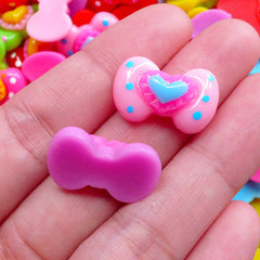 Decora Decoden Cabochons | Colorful Bow with Heart Cabochons | Kawaii Hair Bow Centers | Toddler Hair Accessories Making (4 pcs by Random / 20mm x 13mm)
