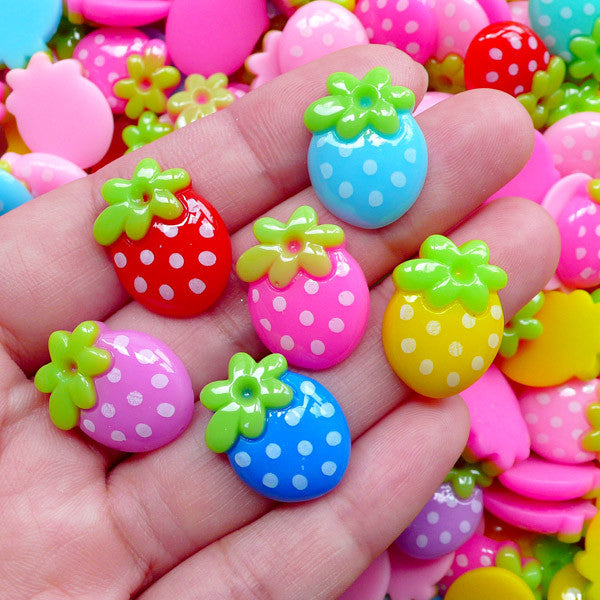 Colorful Strawberry Cabochons | Kawaii Fruit Cabochon | Baby Shower Table Scatter | Toddler Hair Clip Making (4 pcs by Random / 14mm x 19mm)
