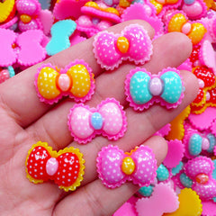 Polka Dot Bow Cabochon | Colorful Resin Bows | Kawaii Decoden Phone Case DIY (4 pcs by Random / 22mm x 16mm)