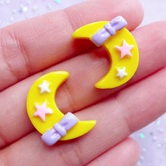 Crescent Moon with Star & Bow Cabochons | Kawaii Resin Cabochon | Hair Bow Center | Fairy Kei Jewelry Making (2 pcs / Yellow / 15mm x 19mm)