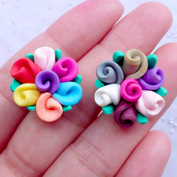 Colorful Fimo Flower Cabochon | Polymer Clay Floral Embellishments | Decoden Supplies | Jewelry Making (2 pcs by Random)