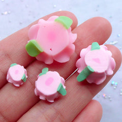 Polymer Clay Flower Cabochon | Floral Embellishments | Decoden Pieces | Phone Case Decoration | Fimo Jewellery Making (4pcs / Pink / 9mm, 13mm, 16mm & 21mm)