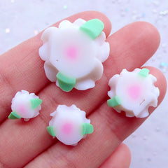 Fimo Flower Cabochon | Polymer Clay Decoden Pieces | Shabby Chic Scrapbooking | Floral Phone Case Deco | Spring Embellishments (4pcs / White / 9mm, 13mm, 16mm & 21mm)