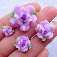 Purple Flower Cabochons | Floral Decoden Pieces | Fimo Rose Cabochon | Polymer Clay Jewellery Making | Scrapbook Supplies (4pcs / 9mm, 13mm, 16mm & 21mm)