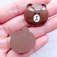 Brown Bear Cabochons | Resin Animal Character Cabochon | Decoden Embellishments | Kawaii Phone Case Supplies | Hair Bow Center (2 pcs / 25mm x 23mm / Flat Back)