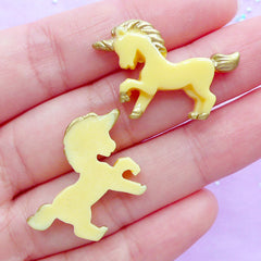 CLEARANCE Small Unicorn Cabochons | Kawaii Decoden Pieces | Fairy Tale Animal Cabochon | Magical Jewellery DIY | Resin Embellishments (2pcs / Yellow / 28mm x 20mm / Flat Back)