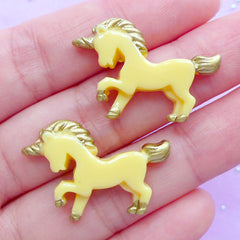 Small Unicorn Cabochons | Kawaii Decoden Pieces | Fairy Tale Animal Cabochon | Magical Jewellery DIY | Resin Embellishments (2pcs / Yellow / 28mm x 20mm / Flat Back)