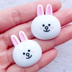 Bunny Cabochons | Character Cabochon | Animal Embellishments | Kawaii Crafts | Decoden Supplies | Cute Hair Bow Centers (2 pcs / 25mmx 30mm / Flatback)