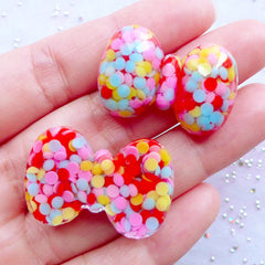 Resin Bow Cabochons with Colorful Sprinkles | Acrylic Rhinestone Bows | Confetti Bow Embellishments | Decoden Cabochon Supplies | Kawaii Hair Jewellery Making (2pcs / 30mm x 20mm / Flat Back)