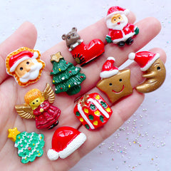Christmas Cabochon Assortment | Kawaii Holiday Decoration | Christmas Decoden | Christmas Embellishments | Scrapbook | Card Making | Party Supplies | Table Scatter (10pcs / Mix / 19mm to 25mm / Flatback)