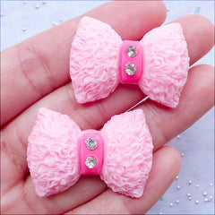 Decoden Supplies | Rhinestone Bow Cabochons in Furry Texture | Kawaii Resin Bow Cabochons | Phone Case Decoration | Cute Jewellery Making (2pcs / Pink / 33mm x 23mm / Flat Back)