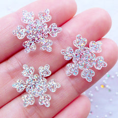 Glittery Snowflake Cabochons | Shimmer Snow Flake Cabochon with Bling Bling Glitter | Kawaii Christmas Cabochon | Winter Embellishments | Decoden Phone Case | Scrapbook Supplies (3pcs / Clear / 16mm x 18mm /  Flat Back)