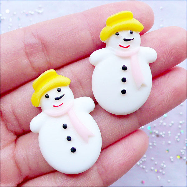 Christmas Snowman Cabochons | Holiday Embellishments | Winter Cabochon | Kawaii Phone Case | Decoden Pieces | Christmas Party Supplies | Table Decoration (2pcs / 21mm x 33mm / Flat Back)