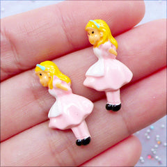 Alice in Wonderland Decoden Cabochons | Little Girl Cabochon | Whimsical Resin Pieces | Novelty Jewellery | Kawaii Embellishments | Fairy Tale Scrapbooking | Card Making (2 pcs / 13mm x 25mm / Flat Back)
