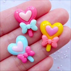 Heart Magic Wand Cabochons | Kawaii Power Stick Cabochon | Transformation Rod Cabochon | Fairy Kei Resin Pieces | Decoden Supplies | Hair Bow Centers | Pastel Kei Jewellery DIY (3 pcs / Colorful Mix / 16mm x 20mm / Flat Back)