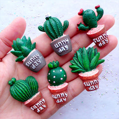 Cactus Cabochon Set | Resin Plant Cabochons | Garden Decor | Fridge Magnet Making | Scrapbook Embellishments | Home Decoration (6 pcs / Assorted Mix / Flat Back)