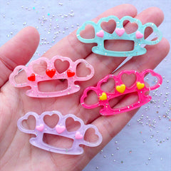 Brass Knuckles Cabochons with Glitter | Glittery Knuckledusters Cabochon | Kawaii Heart Knucklebusters | Resin Decoden Pieces | Pastel Goth Phone Case Deco (4 pcs / Assorted Mix / 48mm x 23mm / Flat Back)