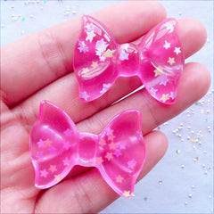 Star Confetti Bow Cabochons | Clear Bow Flatback | Kawaii Cabochons | Resin Pieces | Decoden Phone Case | Cute Jewellery DIY (2 pcs / Transparent Dark Pink / 36mm x 27mm / Flat Back)
