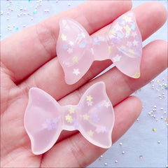 Pastel Kei Bow Cabochons with Star Confetti | Translucent Bow Flatback | Resin Cabochons | Decoden Pieces | Kawaii Phone Case | Cute Jewelry Making (2 pcs / Clear Light Pink / 36mm x 27mm / Flat Back)