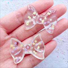 Confetti Bow Cabochons | Transparent Bow Flatback witn Star Sprinkles | Kawaii Resin Bows | Decoden Supplies | Cell Phone Case Deco | Fairy Kei Jewelry DIY (2 pcs / Clear / 36mm x 27mm / Flat Back)