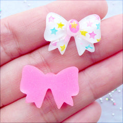 Star Ribbon Cabochons | Kawaii Decora Kei Jewellery DIY | Hairbow Centers | Resin Decoden Pieces | Phone Case Decoration | Planner Paper Clips Making (2 pcs / Pink & White / 21mm x 15mm / Flat Back)