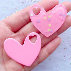 Confetti Heart Cabochons with Sparkly Heart Glitter | Glittery Fairy Kei Cabochons | Kawaii Charms | Pastel Kei Decoden Phone Case | Cute Resin Cabochon (2 pcs / Light Pink / 40mm x 35mm / Flat Back)