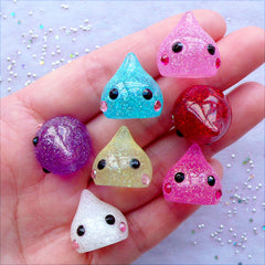 3D Raindrop Cabochons with Glitter | Glittery Rain Drop Cabochon | Kawaii Character Cabochon | Shimmer Resin Decoden Pieces | Kawaii Charm Making (7 pcs / Assorted Translucent Color Mix / 17mm x 18mm / Flat Back)