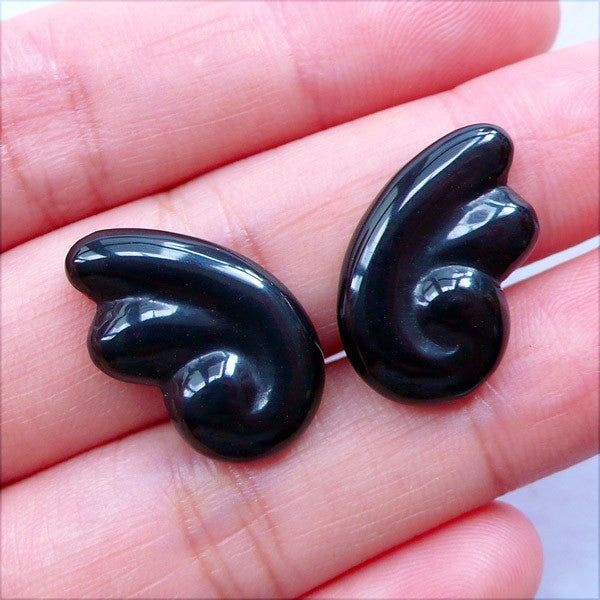 Black Angel Wing Cabochons | Fallen Angel Wings Flatback | Kawaii Goth Cabochons | Gothic Lolita Jewellery Making | Resin Decoden Pieces | Earrings DIY (2pcs / Black / 12mm x 20mm / Flat Back)