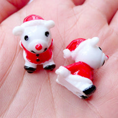 Bear Santa Claus Cabochons in 3D | Kawaii Christmas Cabochons | Christmas Embellishments | Christmas Decoration | Christmas Decoden Phone Case | Christmas Party Supplies | Christmas Resin Pieces (2 pcs / 14mm x 18mm)