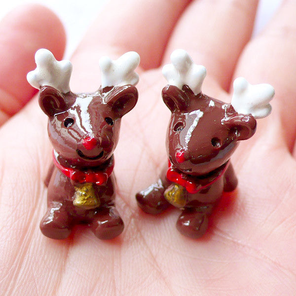 3D Reindeer Cabochons | Christmas Resin Cabochons | Animal Cabochon | Kawaii Christmas Party Decoration | Christmas Embellishments | Christmas Phone Case Decoden | Christmas Supplies (2 pcs / 16mm x 23mm)