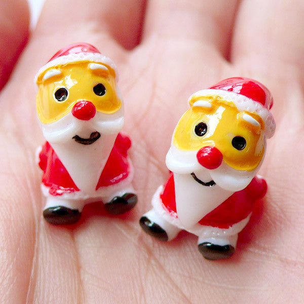 3D Santa Claus Cabochons | Kawaii Christmas Supplies | Christmas Fairy Garden | Miniature Christmas Figures | Christmas Party Decor | Christmas Table Decoration | Decoden Cabochons (2 pcs / 13mm x 18mm)