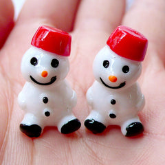 3D Miniature Snowman Cabochons | Christmas Fairy Garden DIY | Mini Christmas Ornaments | Christmas Party Deco | Kawaii Christmas Phone Decoration | Xmas Party Table Scatter | Christmas Craft Supplies (2 pcs / 13mm x 20mm)
