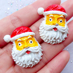 Santa Claus Cabochons | Christmas Decoden Cabochon | Kawaii Christmas Phone Case | Holiday Embellishments | Christmas Scrapbooking Supplies | Xmas Card Making | Party Decoration (2 pcs / 25mm x 31mm / Flat Back)