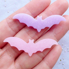 Glittery Pastel Bat Cabochons | Shimmer Halloween Cabochon with Glitter | Resin Decoden Pieces | Kawaii Goth Jewellery Making | Halloween Phone Case Decoration (5pcs / Assorted Mix / 44mm x 15mm / Flat Back)