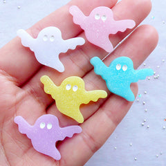 Halloween Ghost Cabochon with Glitter | Glittery Halloween Cabochons in Pastel Color | Halloween Decoden Supplies | Sweet Gothic Jewelry DIY | Shimmer Resin Cabochon | Kawaii Phone Case | Party Table Decoration (5pcs / Assorted / 29mm x 19mm / Flat Back)