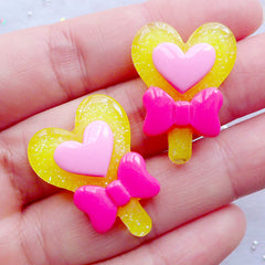 Kawaii Resin Cabochons | Heart Magic Wand Cabochons | Fairy Tale Cabochon | Heart Lollipop with Bow Cabochon | Decoden Phone Case | Magical Girl Jewelry Making (2pcs / Yellow / 20mm x 27mm / Flat Back)