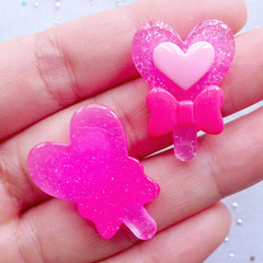 Heart Power Stick Cabochons | Transformation Wand Cabochon | Heart Lollipop Cabochon | Kawaii Decoden Cabochons | Magical Girl Cabochons | Fairytale Phone Decoration (2pcs / Dark Pink / 20mm x 27mm / Flat Back)
