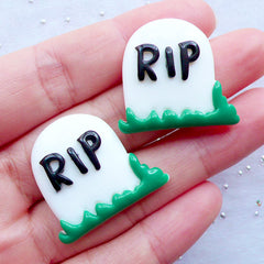 RIP Gravestone Cabochons | Rest in Peace Cabochons | Tombstone Cabochons | Graveyard Cabochons | Cemetery Resin Cabochons | Spooky Halloween Decoration | Kawaii Goth Decoden Supplies (2pcs / 27mm x 25mm / Flat Back)
