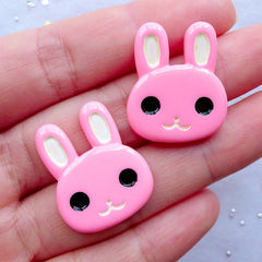 Pink Bunny Cabochons | Kawaii Rabbit Cabochon | Animal Cabochon | Easter Cabochon | Decoden Pieces | Card Making | Scrapbook Embellishments | Resin Flatback | Hairbow Centers (2pcs / 21mm x 25mm / Flat Back)