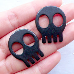 Resin Skull Cabochons | Kawaii Halloween Cabochon | Skeleton Head Cabochon | Spooky Phone Case Deco | Sweet Gothic Decoden Supplies | Scrapbook Embellishments (2pcs / Black / 23mm x 28mm / Flat Back)